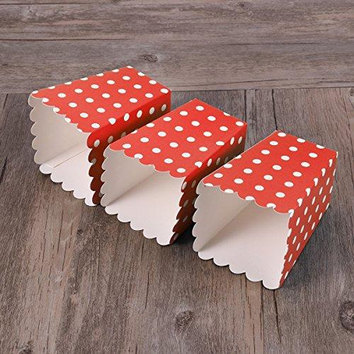 YeahiBaby 24pcs Popcorn Boîtes Conteneurs Conteneurs Cartons Sacs en Papier Dot Design Snack Box pour Movie Theater Desserts Tables Faveurs De Mariage (Rouge)