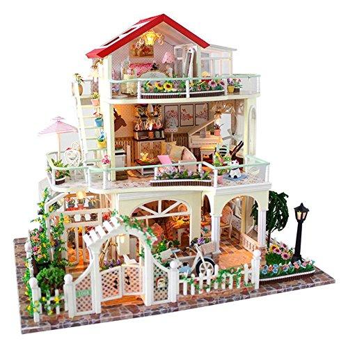 Kit De Casa De Muñecas De Bricolaje, Kit De Casa De Muñecas En Miniatura De Bricolaje, Accesorios De Casa De Muñecas De Madera Con Juego De Muebles De Casa Modelo De Juguete, Sin Cubierta Antipolvo
