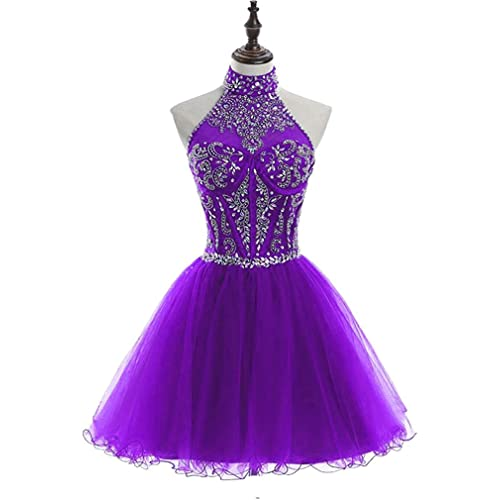 54fbb4aa2b HEIMO Women s Halter Beading Homecoming Dresses Sequined Backless Prom  Gowns Short H233