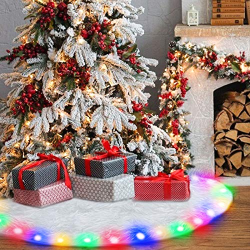 Christmas Tree Skirt , GLIME 48 Inch White Xmas Tree Skirts with LED Light Plush Faux Fur for Halloween Xmas Decorations Holiday Party Indoor Outdoor Decoration
