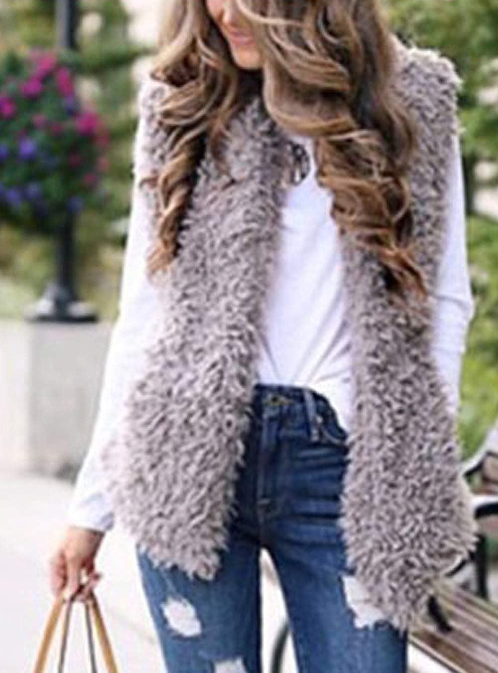 Women Fuzzy Gilets Jacket Open Front Lightweight Sherpa Faux Fur Outwear Vests