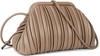 Clutch Purse and Cloud Dumpling Bag,Small Crossbody Bags for Women,Trendy Ruched Shoulder Handbags,Soft PU Leather