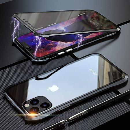 iPhone11 Pro ケース 両面ガラス 対応 防爆裂 360°全面保護 OURJOY iPhone 11 Pro アルミバンパー ケース マグネット式 磁石磁気接続 スマホケース 金属フレーム 前後両面9H強化ガラスフィルム 耐衝撃 擦り傷防止 アイフォン11 Pro ケース クリア (iPhone11 Pro ブラック)