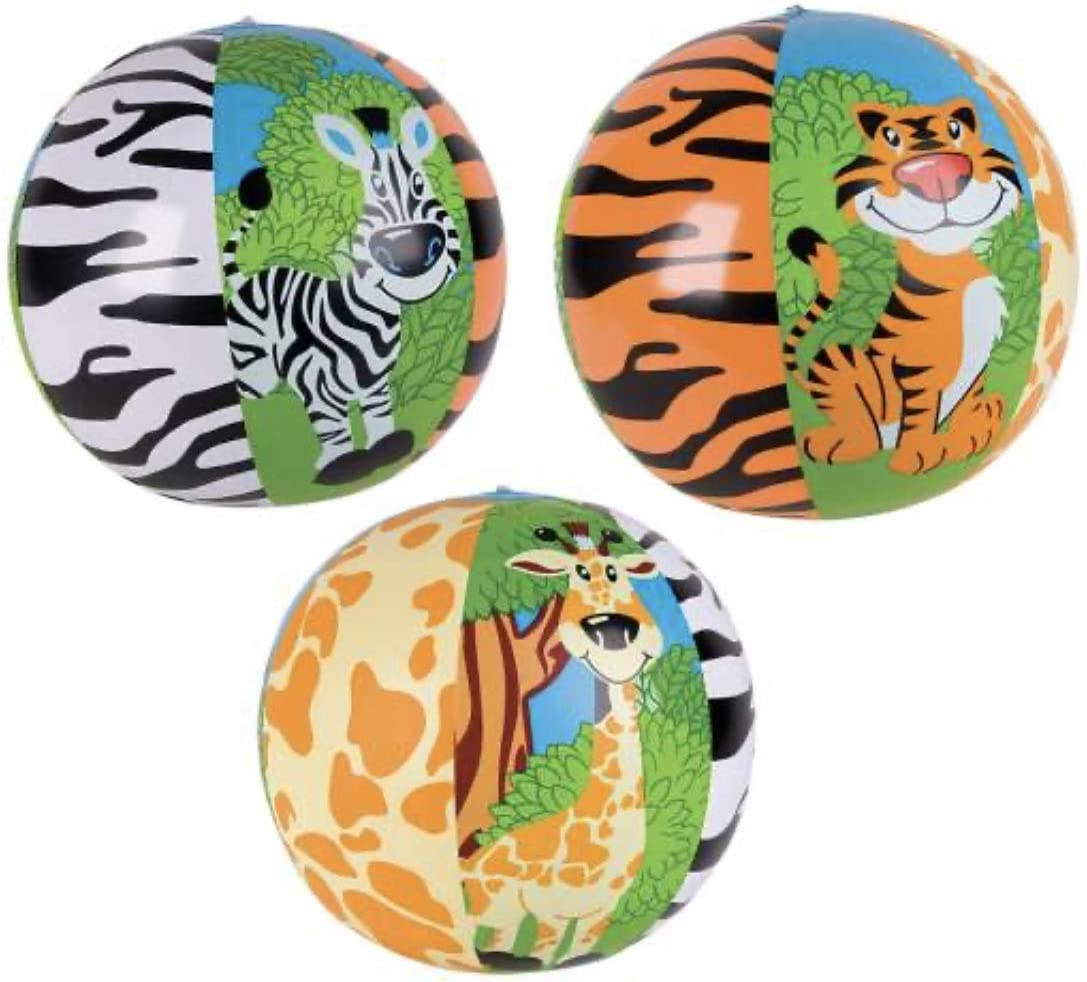 Just4fun Colorful Zoo Animal Beach Balls 12 Party Favors 3 Pool Party Toys Tiger Zebra Giraffe