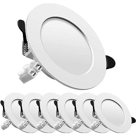 LED spot encastré, extra plat, encastré lampe plafonnier plat rond,7W 700lumen equivalent 70W incandescence, AC175-265V, blanc neutre, pour salle de bain, salon, boite de 6
