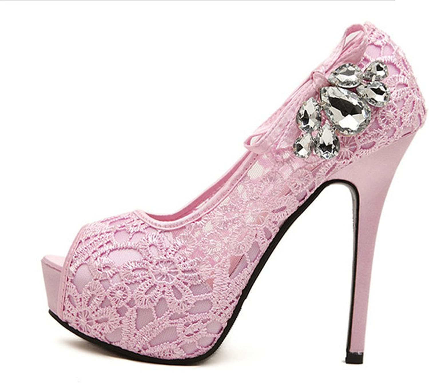 Womens Lace Rhinestone High Heels Dress Party shoes