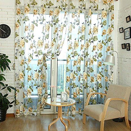 Demiawaking Stile Elegante Tenda di Tulle Floreale Tenda della Finestra Decorazioni Interni Finestre Camera da Letto (100 * 250CM, Giallo)