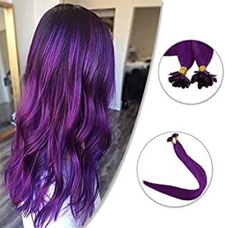 You Shine Utip Pre Bonded Remy U-Tip Hair Extensions Colored Purple 20inch Real Human Hair Brazilian Keratin Hair Extension 25g/pack