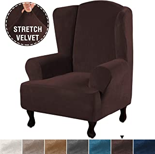 H.VERSAILTEX 1 Piece Ultra Soft Stretch Stylish Wing Back Arm Chair Furniture Cover Slipcover Feature Real Velvet Plush Fabric, Soft Thick Luxury Velvet Wing Chair Slipcovers (Wing Chair, Brown)