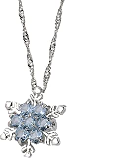Lovely Snowflake Crystal Pendant Necklace Chain Zirconia Korean Pendant Necklace Jewelry for Women Girls
