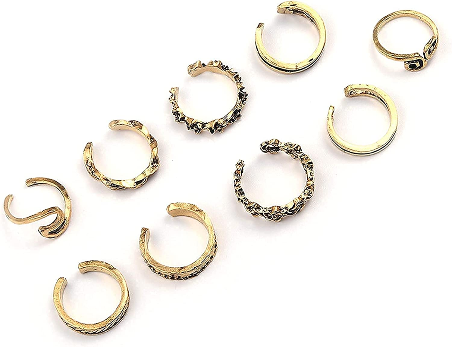 Larancie Boho Toe Rings Set Gold Vintage Pattern Carving Foot Joint Ring Beach Foot Ring knuckle Toe Jewelry for Women and Girl 9 PCS