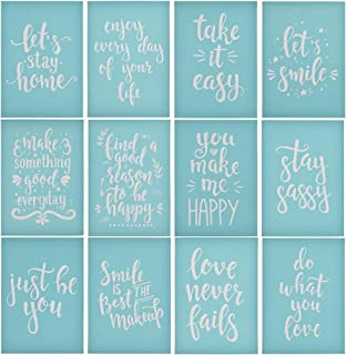 YeulionCraft DIY Self-Adhesive Silk Screen Printing Stencil Letters Pattern Reusable Sign Stencils for Painting on Wood Making DIY Decoration, 12PCS