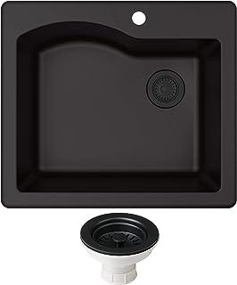 Kraus KGD-441BLACK-PST1-BL Quarza 25-inch Dual Mount Single Bowl Granite Kitchen Sink, Black