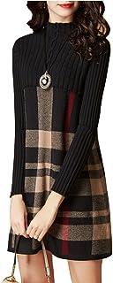 Lacus-IT Vestito Invernale Lavorato a Maglia da Donna -Abito a Maniche Lunghe a Vita Alta con Collo Alto e Maniche Lunghe