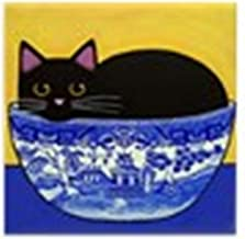 CafePress Black CAT Blue Willow Bowl Art Tile W/No Margin Tile Coaster, Drink Coaster, Small Trivet