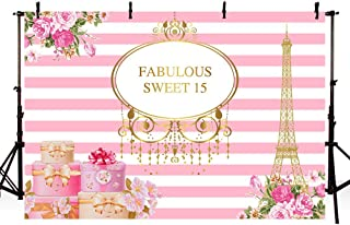 MEHOFOTO Fabulous Sweet 15 Eiffel Tower Photo Studio Booth Background Pink and White Stripes Flowers Gifts 15th Happy Birthday Party Banner Backdrops for Photography 8x6ft