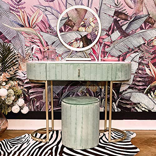 Carme Miami Deco - Tavolo da toeletta in velluto con sensore touch a LED, colore: Verde salvia