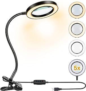 Lampe Loupe LED Powcan Flexible Loupe avec Grossissement 5X Lumière Loupe de Bureau avec Pince