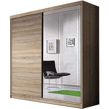 E-MEUBLES Armoire de Chambre avec 2 Portes coulissantes   Penderie (Tringle) avec étagères (LxHxP): 183x218x61 TESS BIS03 (Sonoma)