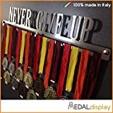 Medallero de Never Give Up, para pared, soporte para exposición de medallas, 750mm x 115mm x 3mm