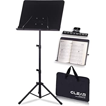 GLEAM Sheet Music Stand - 2 in 1 Dual-Use Desktop Book Stand Metal with Carrying Bag