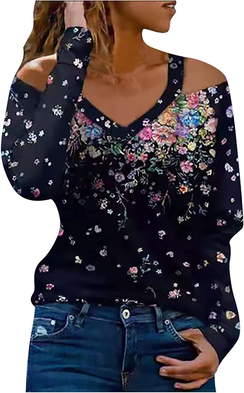 TIMIFIS Off The Shoulder Tops for Women Casual Long Sleeve Blouse Sexy V Neck Shirts Fashion Floral Print Sweatshirt
