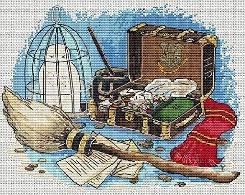 Kit de punto de cruz de algodón egipcio, 14 ct, 150 x 115 puntadas, 36 x 40 cm, kit de punto de cruz fácil y pequeño, diseño de Harry Potter