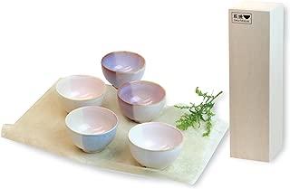 Japanese Ceramic Hagi-Ware. Set of 5 shikisai Small Bowls with Wooden Box. shuto35410