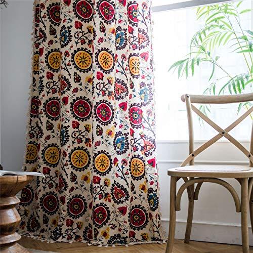 BBSET Boho Colorful Window Curtain Panel with Tassels Country Vintage Sun Flower Pattern Cotton Linen Room Darkening Rod Pocket Drapes Semi Sheer For Living and Bedroom (Sun Flower Rod Pocket59''x87')
