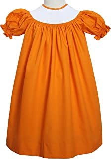 Ready to Smock Your Halloween Smocking Plate in This Orange Bishop Dress
