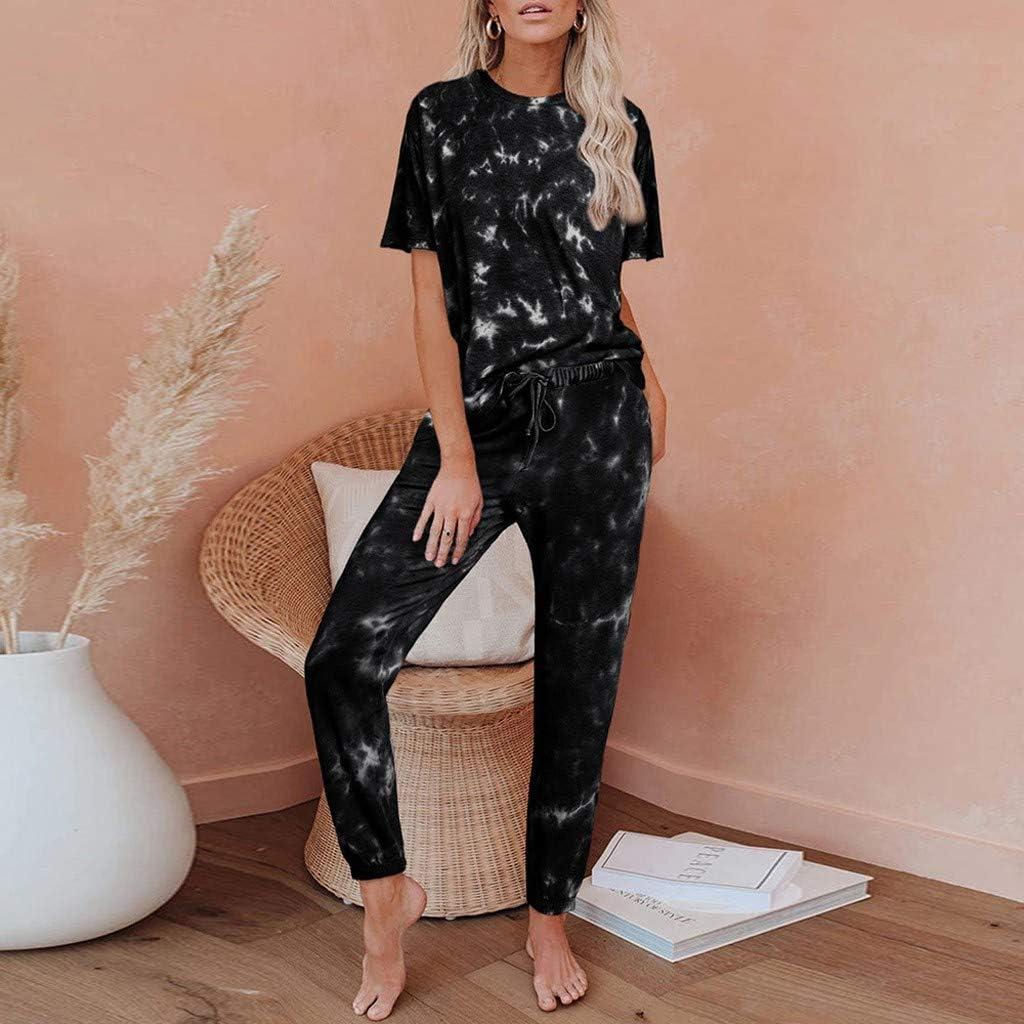 Pajamas Set for Women, Womens Tie Dye Printed Pajamas Set Short Sleeve Tops and Jogger Pants PJ Set Sleepwear Loungewear