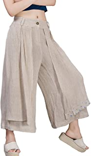 Jiqiuguer Women's Plus Size Double Layers Linen Cotton Wide Leg Cropped Pants