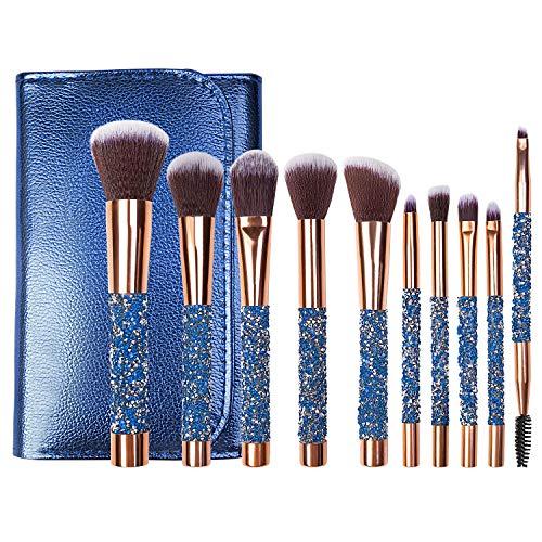 Makeup Brushes Set 10pcs Premium Makeup Brush Cosmetic Brushes Eyeshadow Eyeliner Blush Foundation Powder Concealers Eye Shadows Make Up Brushes Kit (Blue)