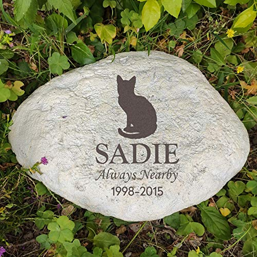 MARYTUMM Personalized Cat Memorial Stone, Custom Cat Grave Markers, Cat Headstone, Cat Memorial Plague, Cat Loss Gift