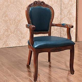 ZJN-JN Silla Sillas de Comedor Contador de Cocina Silla de Cuero de Estilo Europeo-butaca Lateral del hogar Tallado Simple Montaje de heces 2 Paquete Azul (Color: Azul, tamaño: 52x50x106cm)