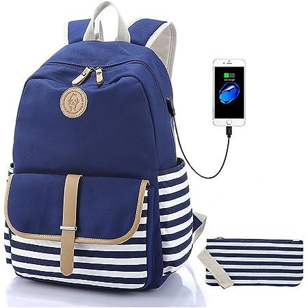 Yuui Brny Purple Plaid Casual Backpack Multi Function School Bag