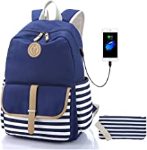 Sqodok Canvas Backpack, 14 Inch School Backpack Laptop Bag with USB Charger Port, Striped Travel Daypack School Bookbag for Women, Blue