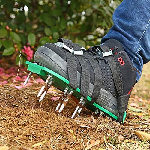 Rasenbelüfter, 26 Schrauben Vertikutierer-Schuhe, tragbarer Rasen-Vertikutierer, manueller Garten-Vertikutierer, hergestellte Rasenbelüftungsschuhe mit 8 Riemen für Ihren Rasen oder Hof
