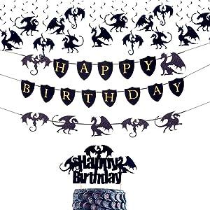 JeVenis 18 PCS Dragon Cake Decoration Dragon Birthday Banner Dragon Birthday Party Decoration Dragon Birthday Supplies Dragon Party Picks Fantasy Party