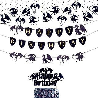 JeVenis 18 PCS Dragon Cake Decoration Dragon Birthday Banner Dragon Birthday Party Decoration Dragon Birthday Supplies Dra...