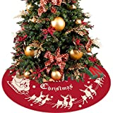 BLIOWL Red Christmas Tree Skirt 48 inches, Large Luxury Plush Rustic Santa Claus and Reindeer Tree Mat Holiday Party Supplies Decorations Ornaments