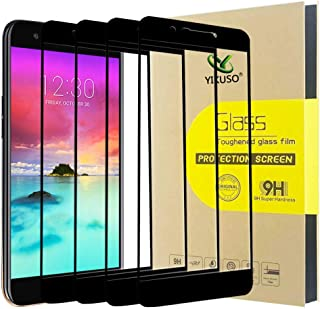[4 Pack] Screen Protector for LG K20 Plus, LG K20 V, LG K10 2017, [Full Cover] Tempered Glass Screen Protector 9H Hardness HD Anti-Scratch (Black)