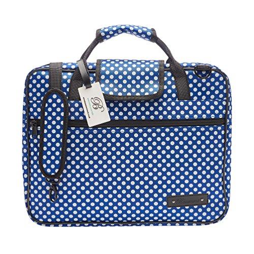 """Beaumont """"Blue Polka Dot"""" Musik-Notentasche Schultertasche mit Tragriemen Umhängetasche Laptoptasche 38x29x5cm Tragetasche Erwachsene Schultasche Kinder"""