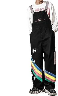 JSUMING Mens Rainbow Print Loose Casual Bib Overalls,Black,S
