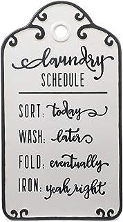 Chumbak Metal Laundry Schedule White Wall Art
