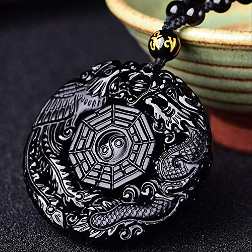 Bruce Natural Black Obsidian Hand Carved Chinese Taiji Bagua Lucky Amulet Pendant Free Necklace Fashion Jewelry
