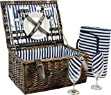 INNO STAGE Wicker Picnic Basket for 2, Picnic Set for 2,Willow Hamper Service Gift Set for Camping and Outdoor Party...