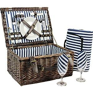 INNO STAGE Wicker Picnic Basket for 2, Picnic Set for 2,Willow Hamper Service...
