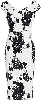 AUQCO Womens 1950s Vintage Dress Floral Cocktail Tea Length Pencil Dress Cap Sleeve