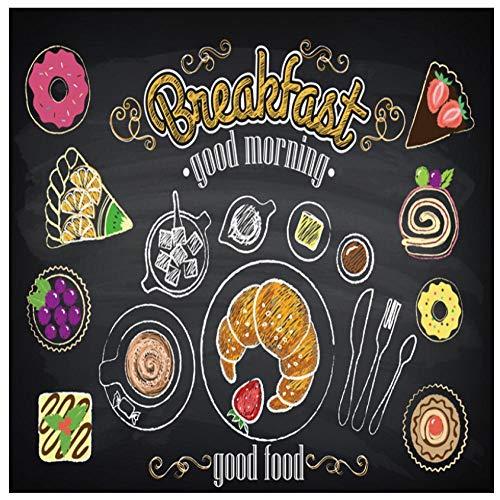Aangepaste 3D muurschildering Ontbijt Brood Aardbei Cake Alfabet Achtergrond Decoratie Schilderij Restaurant Woonkamer Café Niet-Geweven PVC HD Behang 450(w) x300(H) cm